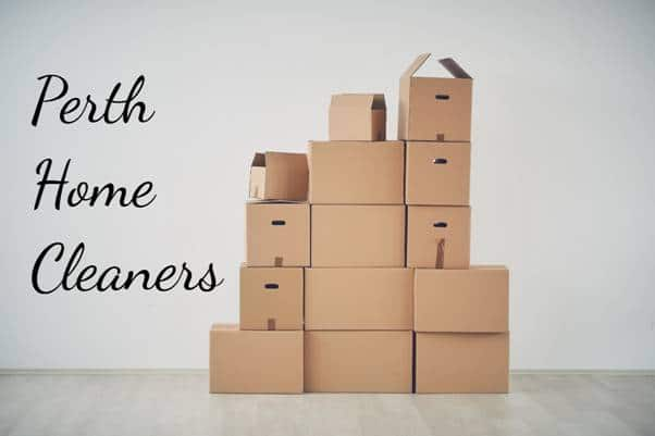 stacked cardboard boxes with caption Perth Home Cleaners