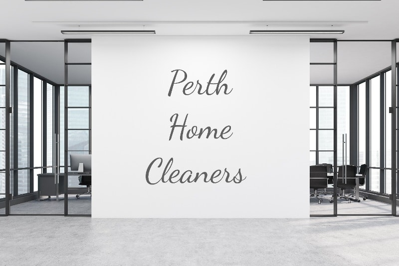 """clean black and white office space with caption """"Perth Home Cleaners"""""""