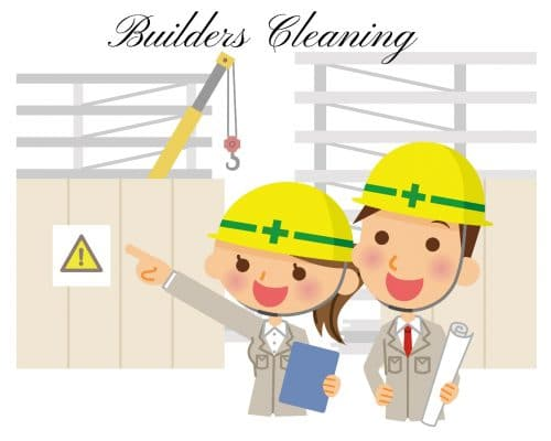 two building inspectors on a building site, one pointing to yellow danger sign while holding a blue clipboard with the top of a crane hidden behind a wall