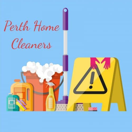 An animated set of cleaning liquids, soapy red bucket, mop and cleaning warning sign. Pink gloves are on the yellow warning sign. The words Perth Home Cleaners is in red on a blue background