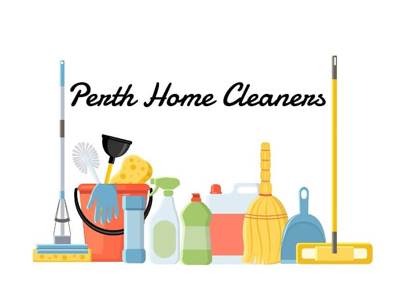 Animated array of cleaning supplies. Various mops, brushes and cleaning solutions. A red bucket with a glove, sponge, plunger and toilet brush in it. The caption is Perth Home Cleaners
