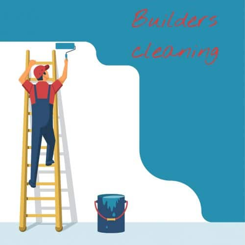 man in blue overalls and red shirt on a yellow ladder leaning against a white wall. The man is painting the wall blue with a paint roller. A bucket of blue paint is on the ground. The words builders cleaning are in red