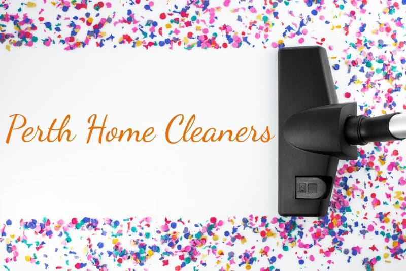 a vacuum has cleaned most of a horizontal path through multi-coloured confetti to reveal the words Perth Home Cleaners