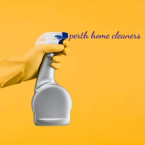 an orange glove holding a grey window cleaning solution spray bottle, appearing to spray the words perth home cleaners on the orange background