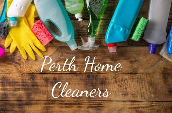 cleaning supplies on a wooden deck with the words Perth Home Cleaners